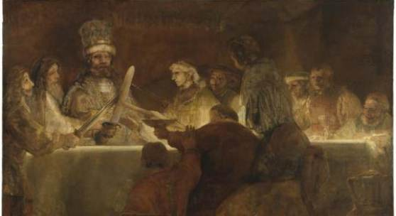Rembrandt, The Conspiracy of the Batavians under Claudius Civilis, about 1661. Pen and brown ink, with brown wash and white bodycolour. 19.6 x 18 cm © The Royal Academy of Fine Arts, Stockholm