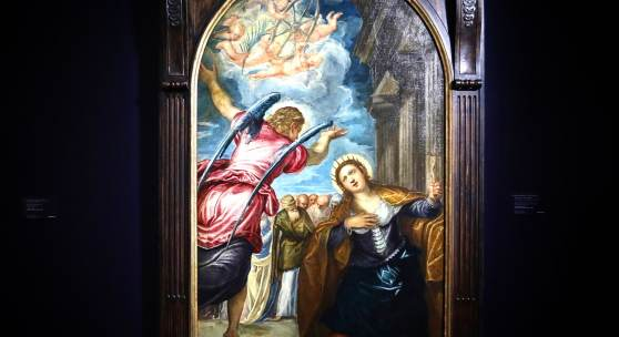 Jacopo Robusti, called Jacopo Tintoretto and Studio Venice 1518 - 1594 The Angel foretelling Saint Catherine of Alexandria of her martyrdom oil on canvas with an arched top, relined as a rectangle 177.1 by 99.3cm.; 69¾ by 39¼in. Est. £100,000-150,000 Sold for £191,000