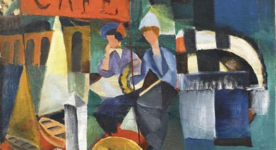August Macke, Café am See, 1913, Franz Marc Museum, Kochel a. See, Dauerleihgabe aus Privatbesitz