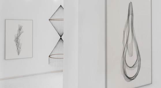 """Ausstellungsansicht """"Innovative Bildwelten #02 Constanze Vogt - weiterspinnen"""""""