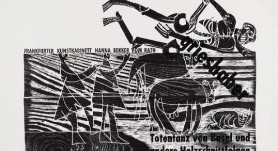 Grieshaber, HAP 1909 Rot an der Rot - 1981 Reutlingen  Totentanz von Basel und andere Holzschnittfolgen. 1966. Zwei Arbeiten - Entwurf: Tusche über Holzschnitt und handschriftlicher Text auf Karton. 62 x 80cm. Plakat: Holzschnitt auf Werkdruckpapier. 51 x 65,5cm (61 x 80cm). Signiert. - Plakat: Minimale Knickspuren. Druckbedingter schmaler Schmutzstreifen über die gesamte Blatthöhe. Verso leichte Verschmutzungen. Wvz. Fürst, Nr. 66/86. Entwurf mit Angaben zum Auflagendruck. Plakat für das Frankfurter Kunstkabinett Hanna Bekker vom Rath. Preise & Bieten Schätzpreis: 800 - 1.000 €
