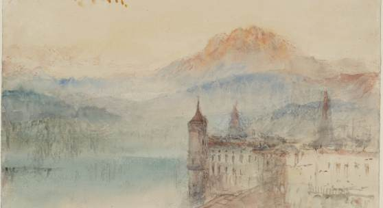 Joseph Mallord William Turner, Lucerne with Pilatus beyond, ca. 1841/44 Bleistift, Aquarell und Gouache auf Papier, 24.4 x 30.9 cm, © Tate, London, 2019