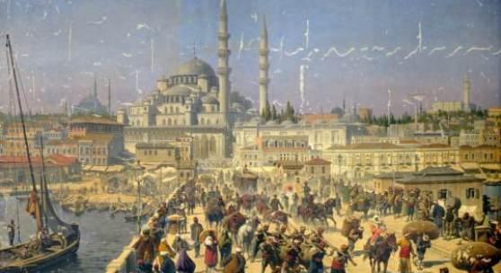 Unbekannt (Monogramm WS), Panorama von Konstantinopel, 2. Hälfte 19. Jh. Öl auf Leinwand, 145 x 398 cm, Foto: Gabriele Bröcker © Staatliches Museum Schwerin