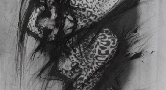 Arnulf Rainer Mein Auftritt als KATZENFRAU 1974 Graphit Minenstift Ölkreide Tusche auf Foto 59,7 x 48,7 cm