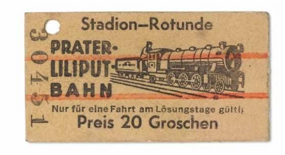 Fahrkarte der Liliputbahn, um 1930 3 x 5,7 cm © Wien Museum als download  <1413 KB>