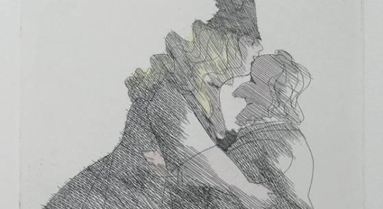 Paul Flora Von der Muse geküsst Radierung, 1998