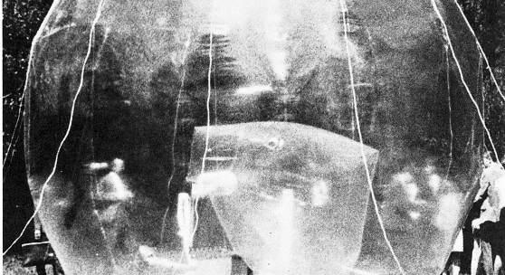 Walter Pichler Großer Raum (Prototyp 3), 1966–1967, Aluminium, Zink, PVC-Folie, pneumatisch, elektrisches Gebläse Installationsansicht Kulturtage Kapfenberg, 1967 Foto: Karin Mack © Bildrecht, Wien, 2016