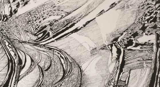 Peter Wechsler Ohne Titel, 10.V.-30.VI.2016 Blatt V aus der Serie 4 Pinsel, Tusche auf Aquarellkarton, 70 x 50 cm Privatbesitz, © 2016 ProLitteris, Zürich