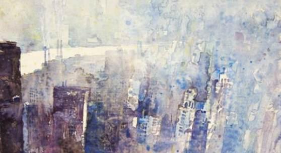 Heribert Mader (geb. 1937 in Steyr) New York Manhattan mit East River 1 Aquarell 1999 32x45cm