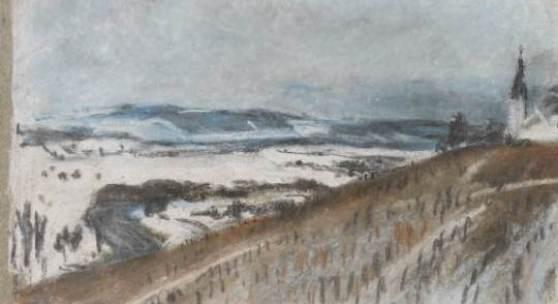 Albert Welti Winterlandschaft bei Höngg Pastell, 16,3 x 29,2 cm Kunsthaus Zürich, Grafische Sammlung