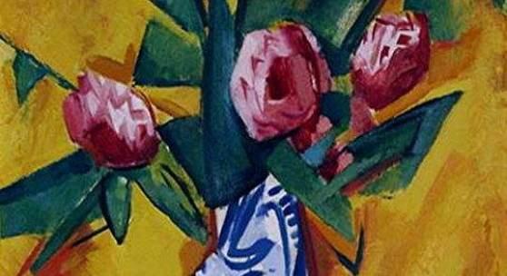 Heinrich Stegemann, Blumen in blauem Krug, © Privatsammlung in der Hamburger Kunsthalle