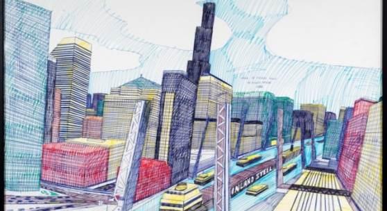 Wesley Willis, The Chicago Skyline, Sears Tower, Chicago River (...), 1986, Kugelschreiber und Filzstift auf Karton, 71 x 99 cm, Collection of Rolf and Maral Achilles