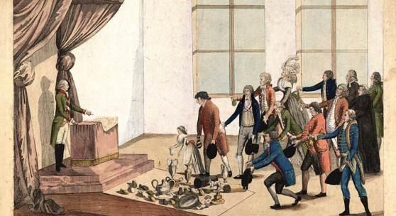 Hiernoymus Löschenköhl: Die Wiener Bürger huldigen Joseph II, kolorierter Kupferstich, 1782-92, Wien Museum
