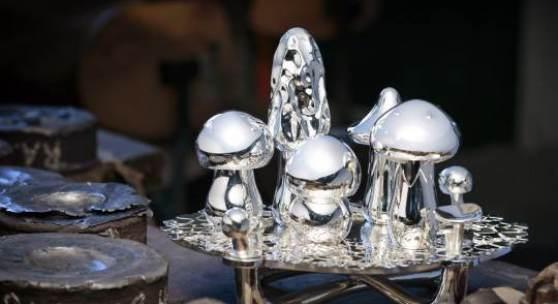 Wiener Silber Manufactur_Wolfgang Joop, Magic Mushrooms, Table decoration, Wood (Zebrano), Silver 940000