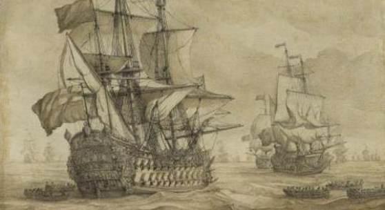Willem I van de Velde Englische Kriegsschiffe Grisaille auf Leinwand, 1680er Jahre 56,2 x 63,5 cm (22.1 x 25 in) Schätzpreis: € 70.000-90.000
