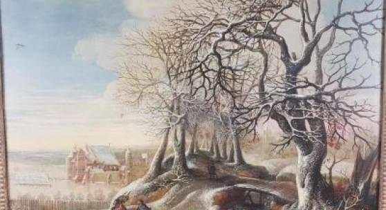 Van Alsloot, Denijs (um 1570 Mechelen - um 1626 Brüssel) - Winterlandschaft vor Kastell Tervuren, um 1618, Öl auf Eichenholztafel, gedünnt, ca.54x68cm, Aufrufpreis:70.000 EUR