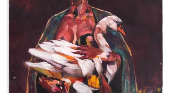 Frau mit Schwan, 2020 Öl auf Leinwand, 100 x 80 cm