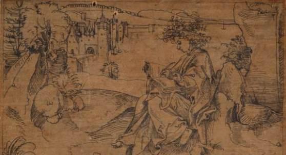 Albrecht Dürer (?) Der dichtende Terenz in einer Landschaft. Nicht bei Winkler-Dürer. Photocredit: Kunstmuseum Basel, Martin P. Bühler