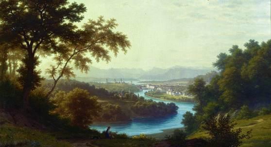 Robert Zünd, Blick auf Luzern vom Stollberg, 1887, Öl auf Leinwand, 55.2 × 73.3 cm, Kunstmuseum Luzern