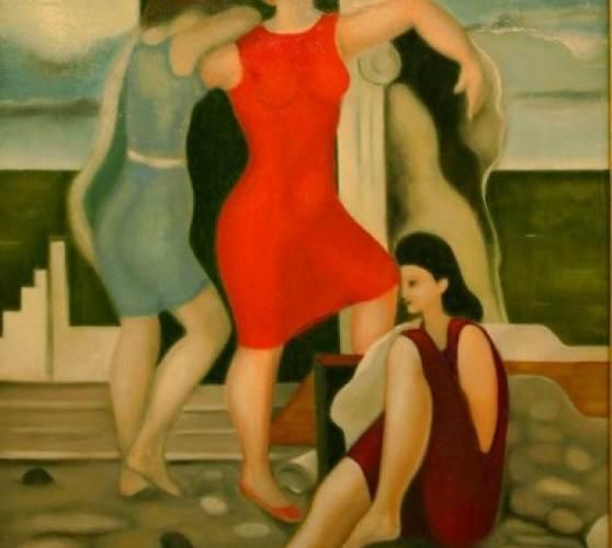 Drei Frauen in arkadischer Landschaft