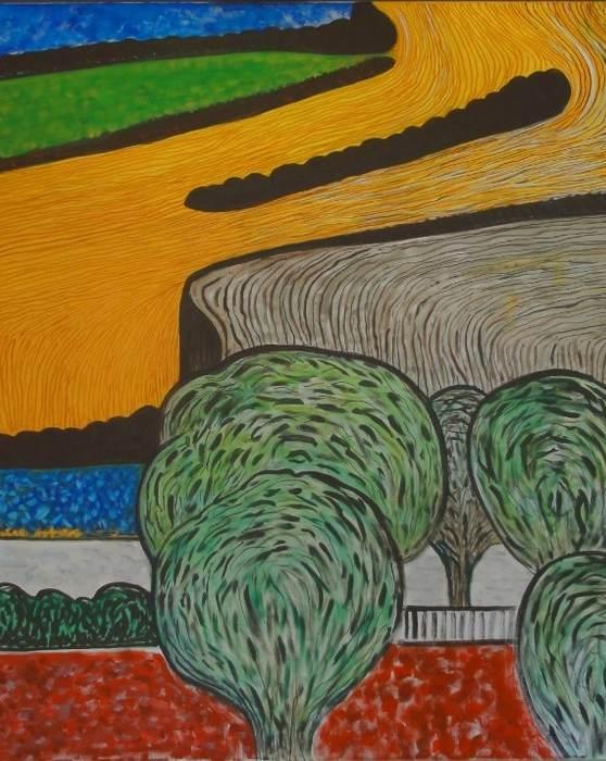 Landschaft mit Äcker