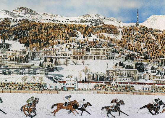 Panorama St. Moritz Pferderennen