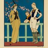 / Georges Lepape, Rugby, Tailliertes Kostüm von Redfern, Tafel aus Le Gazette de Bon Ton, 1914, Pochoir © MKG Hamburg / VG Bild-Kunst, Bonn 2020