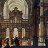 """Kat-Nr: 0039  Bartholomeus van Bassen (Antwerpen um 1590–1652 Den Haag)  Interieur einer Renaissancekirche mit """"Darbringung im Tempel"""" Öl auf Eichenholz 59,5 × 87,5 cm um 1628–1630"""