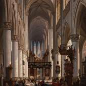 Jules Victor Genisson, Kirchenraum, evtl. die St. Jacobs-Kirche in Antwerpen, 1857, Sammlung Rademakers