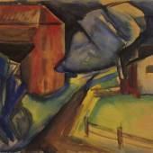 Ewald Mataré, Rotes Haus mit Weg (Aquarell), 1915-19 © VG Bild-Kunst, Bonn 2015