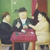 Fernando Botero, Kartenspieler, 1991 - Öl auf Leinwand, 152 x 181 cm, Privatbesitz © Fernando Botero