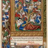 Wurzel Jesse, Blatt aus dem Stundenbuch Unserer Lieben Frau, Französisch, 1499 (Metallschnitt und Miniatur auf Pergament)