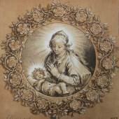Cornelis Ploos van Amstel, nach Abraham Bloemaert, Madonna mit dem Kind im Rosenkranz, 1769 (Aquatinta Radierung)