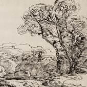 Franz Innozenz Kobell, Felsige Landschaft mit Laubbäumen, o.D. (Rohrfeder auf Bütten)