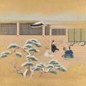 Gartenszene mit beginnender Kirschblüte, Asiatika, 19. Jh. (Tusche und Farbe auf Papier)