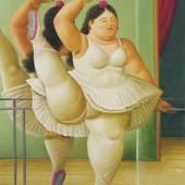 Fernando Botero, Ballerina an der Stange, 2001 - Öl auf Leinwand, 164 x 116 cm, Privatbesitz © Fernando Botero