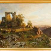 Darnaut, Hugo - Flusslandschaft mit Kirchenruine auf einer Anhöhe
