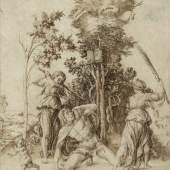 Albrecht Dürer (1471-1528), Der Tod des Orpheus [Detail], 1494, Kupferstich, Hamburger Kunsthalle