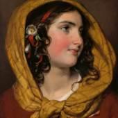 """Friedrich von Amerling """"Bildnis eines Mädchens mit rotem Haarband und gelbem Kopftuch (Karoline Philipp)"""", 1838, Öl auf Leinwand, 40,5 x 35 cm Foto: Kunsthandel Giese & Schweiger"""