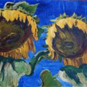 Arnold Balwé, Sonnenblumen, um 1945, Öl/Lw., 49 x 84 cm.  Foto: Inselgalerie Gailer