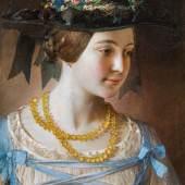"""Johann Baptist Reiter, """"Mädchen mit Bernsteinkette"""", 1847, Öl auf Leinwand, 49 x 41,5 cm, seitlich rechts signiert und datiert: """"Johann Baptist Reiter [18]47"""", Foto: Kunsthandel Giese & Schweiger"""