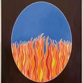 "Nr. 1: Roger Roberts: ""Purgatorio"" aus dem Triptychon (Inferno, Purgatorio, Paradiso)  der Dante‐Installation  Acryl auf reliefgeschnitztem Pappelholz; 102 x 82 cm; 2011  Leihgabe: Roger Roberts © Roger Roberts; Foto: Karl Grohmann"