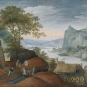 """Marten Ryckaert  """"Landschaft mit einer Eisengießerei"""", Öl auf Holz, 30,2 x 50,2 cm  Foto: AGG New Raritet Antique Gallery"""