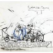 Stephen Cripps, Floating Fire Machine, 1975  Bleistift, schwarze und blaue Tinte, Kohle auf Papier 29,5 x 41,8 cm © The family of Stephen Cripps/Leeds Museums and Galleries (Henry Moore Institute Archive)