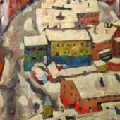 """Alfons Walde, """"Kitzbühel im Schnee"""", um 1919, Öl auf Tempera auf starkem Papier/Karton, Foto: Galerie Martin Suppan"""