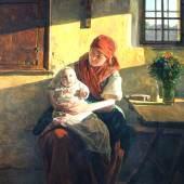 """Ferdinand Georg Waldmüller  """"Sonntagsruhe"""",Öl auf Holz, 58 x 44,5 cm, links unten signiert und datiert: Waldmüller 1859 Foto: Giese & Schweiger"""