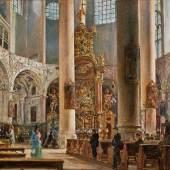 Kat-Nr: 0202 Rudolf von Alt (Wien 1812 - 1905 Wien) Innere der Franziskanerkirche zu Salzburg Öl auf Leinwand 31,2 x 40,4 cm
