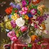 Joseph Nigg (Wien 1782 - 1863 Wien) Blumenstillleben mit Schmetterlingen € 50.000 - 100.000