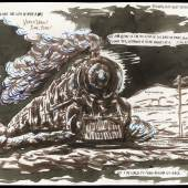 No Title (This meant the...), 2001While many wouldn't consider a train a main character in the traditional sense, we may take Pettibon's trains to be the apocalyptic answer to Thomas the Tank Engine's eternal