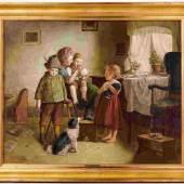 Adler, Edmund - Vier Bauernkinder in der Stube mit zwei Hunden als Spielgefährten
